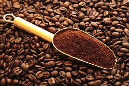 Scoop of ground coffee on coffee beans