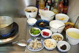 Various ingredients and spicy sauces for Thai dishes