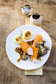 Fillet of rabbit wrapped in carrot with mushrooms