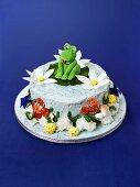 Pond cake with marzipan frog