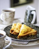 French toast with ham and Cheddar cheese