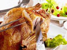 Carving roast goose