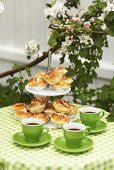 Apple buns (yeasted) on tiered stand
