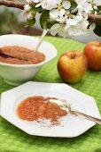 Milk pudding with apple puree