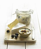 Lard with soft cheese and olives