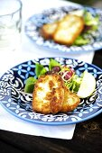 Fried Halloumi cheese with salad