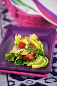 Scallop, mango and tomato salad