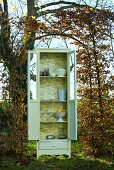 Crockery cupboard in autumnal garden