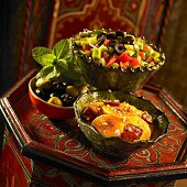 Two different salads and olives (Morocco)