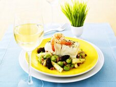 Halibut and prawns with bean and asparagus salad (Easter)