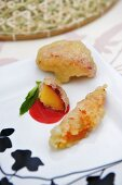 Fruit tempura with raspberry sauce (Thailand)