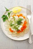 Chicken and carrots in aspic