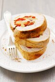 Turkey roulade with pineapple and pepper stuffing