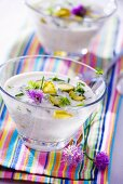 Cold yoghurt soup with gherkins and chives
