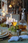Laid table in country house