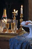 Champagne, macarons and candles
