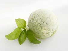 A scoop of basil and avocado ice cream