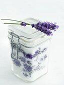 Lavender sugar in a preserving jar