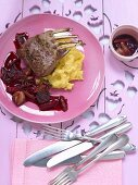 Rack of lamb with caramelised rhubarb and polenta