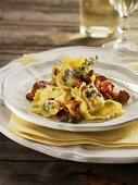 Ricotta ravioli with chanterelles, salami & thyme (Maggia Valley, CH)
