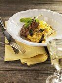 Grilled pork fillet, polenta, sweetcorn, sage (Maggia Valley, CH)