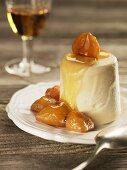 Glazed chestnuts with frozen cream caramel (Maggia Valley, CH)