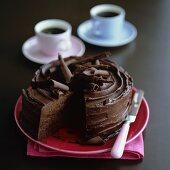 Chocolate cake with chocolate curls