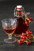 Rose hip liqueur in glass and bottle
