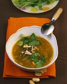 Lentil soup with ginger and peanuts