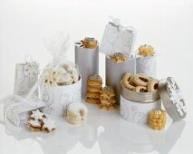 Assorted Christmas biscuits in biscuit boxes