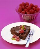 Chocolate marquise with raspberries