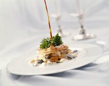 Spiny lobster millefeuille with white beans & black truffle