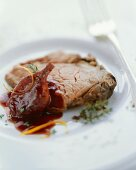 Marinated entrecote steak with shallot confit