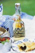 Picnic: spinach pasty, flip-top bottle, quails' eggs