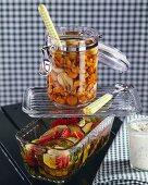 Pickled chanterelles and vegetables