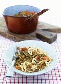 Lentils with spaetzle noodles