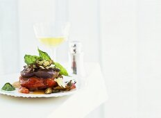 Aubergine with shiitake mushrooms