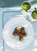 Deep-fried aubergine balls with mint sorbet