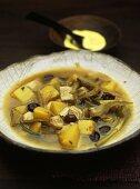 Chicken, artichoke and potato soup with saffron mayonnaise