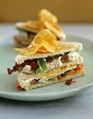 Club sandwich with chicken breast and potato crisps