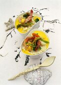 Vegetable risotto with prawns and an artichoke-safran sauce