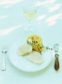 Turbot with mashed potato and thyme