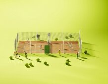 A tennis court with peas as balls and figures