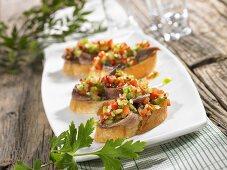 Sardine on toast with pepper