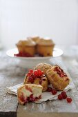 Biscuits de Savoie (sponge cake from Savoy, France) with redcurrants