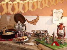 A buffet for a Western-themed children's party