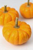 Three orange mini pumpkins
