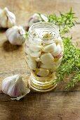 A jar of pickled garlic