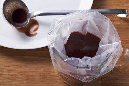 Sauce in a vacuum bag