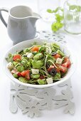 Broad bean and tomato salad with fried celeriac